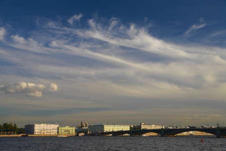 st  petersburg: St. Petersburg. Neva Embankment against the sky