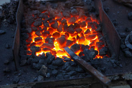 coals: Forge, brazier with hot coals Stock Photo