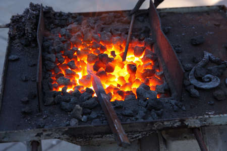 forge: Forge, brazier with hot coals Stock Photo