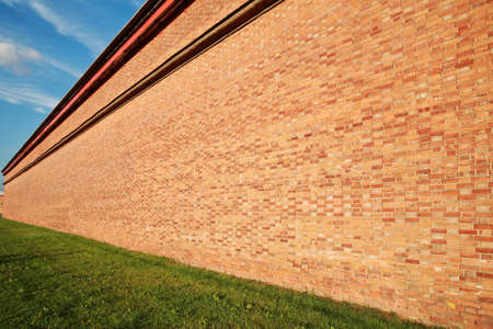 building wall: Brick wall in perspective, receding into the distance