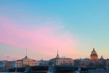 st  petersburg: St. Petersburg, embankment at sunset in winter