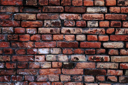 Old brick wall close-up, red Stock Photo