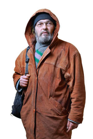 Real man with a beard in a hat in a brown leather jacket, with a bag on a white background