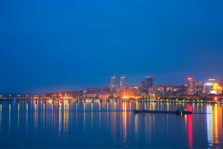 City landscape, night Dnepropetrovsk, embankment and the Dnieper River