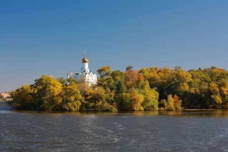 Temple of St. Nicholas on Monastic Island in Dnepropetrovsk, Ukraine Stock Photo