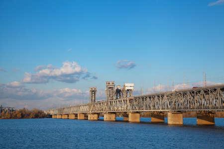 Amur (Old) railway bridge across the Dnieper River in Dnepropetrovsk, Ukraine
