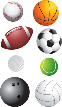 various sports balls isolated