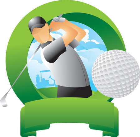icon vector: golfer swinging club Illustration