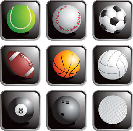 Sport bal pictogrammen Stock Illustratie