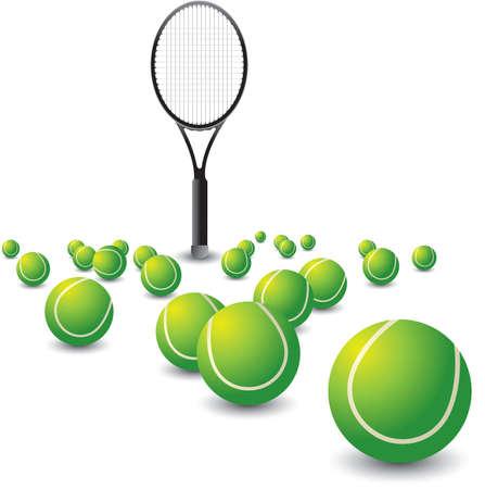 Racket en verspreid tennisballen Stock Illustratie