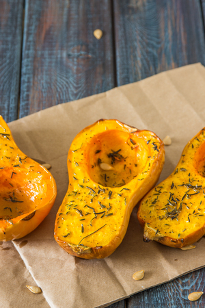 Baked pumpkin with spices and olive oil. Stock Photo