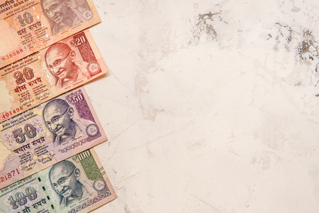 Indian rupee money banknote on a white background.