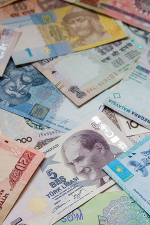 Colorful old World Paper Money banknote background. Stock Photo
