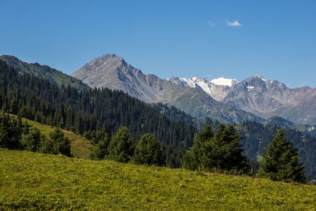 Almaty mountains landscape. Summer view of Kok Zhailau, Kazakhstan