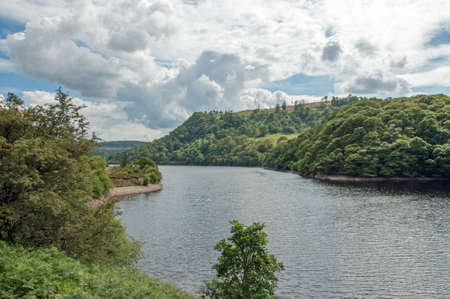 Elan valley reservoir in the countryside of Wales.