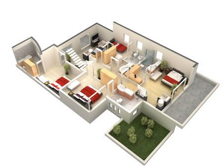 balcony design: 3D floor plan