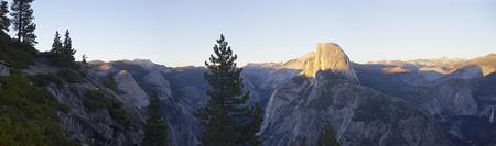 half dome: panaroma of Half Dome, Yosemite at sunset Stock Photo