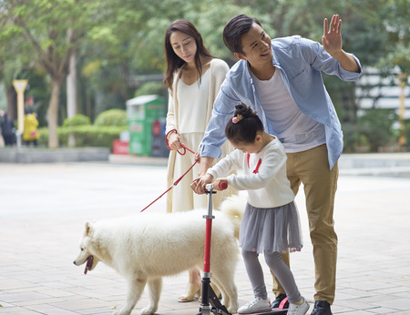 Asian parents & daughter playing scooter while walking dog in garden and greeting neighbor Stock Photo