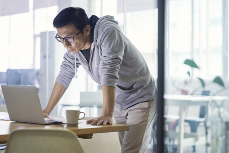 Portrait of Asian businessman working on laptop in office