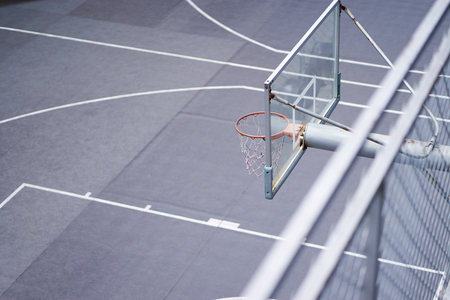 High angle view of basketball hoop in outdoor court nobody