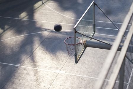 High angle view of shooting basketball in outdoor court nobody 写真素材 - 118895095