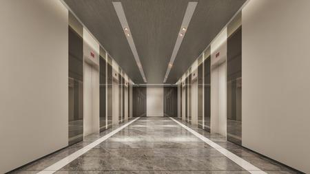 3D rendering of modern lift lobby 스톡 콘텐츠