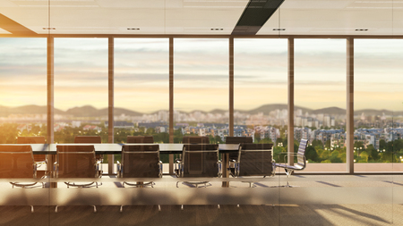 3D rendering of meeting room with city view at sunset
