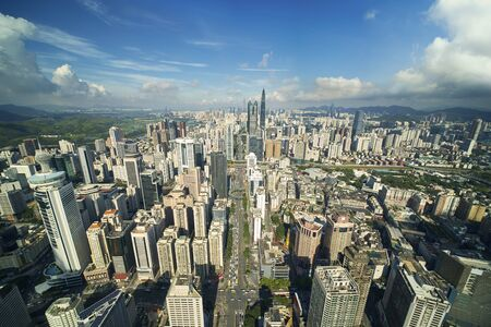 aerial view of vibrant city Shenzhen China at day time