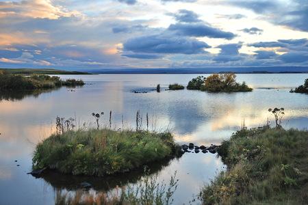 Iceland.Sunset. Myvatn Lake