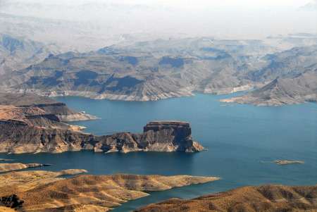 Aerial view of Hoover Dam and the Colorado River Bridge Stock Photo