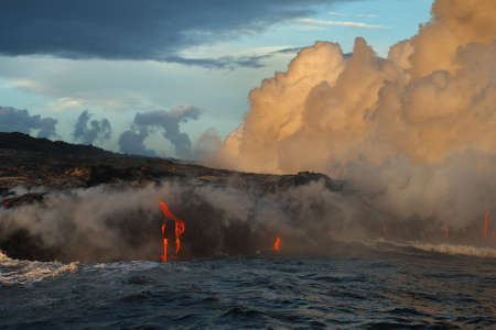 Lava flowing into the ocean from lava volcanic eruption on Big Island Hawaii, USA.