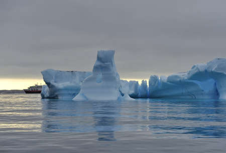 Drifting icebergs. Global warming. Climate change. Antarctica, Arctic. Greenland