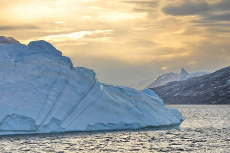 Greenland. Icebergs in the ocean. The nature of the North.