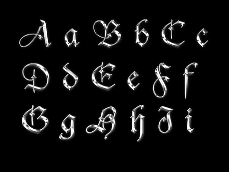 Set of silver letters in ancient style photo