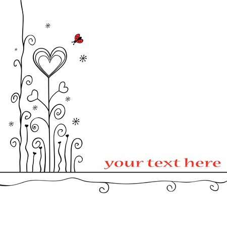 Hand-drawn love card Vector