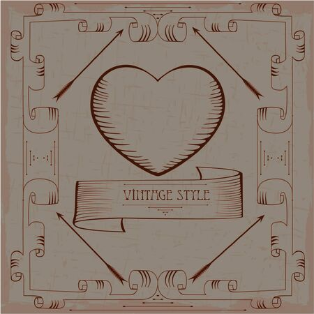 Vintage heart illustration Vector