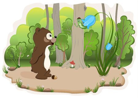 grove: Bear cub and a caterpillar which talk on a wood glade