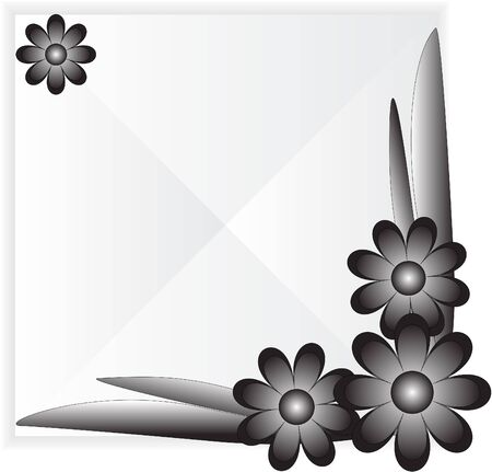 Tile with black flowers