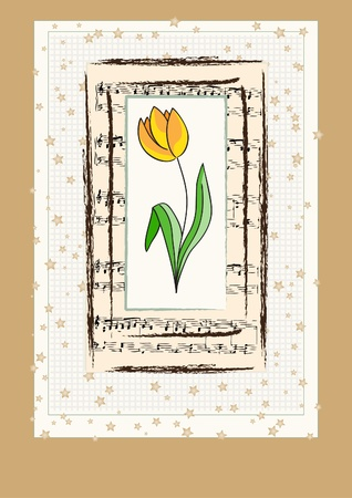Vector greeting card with tulip