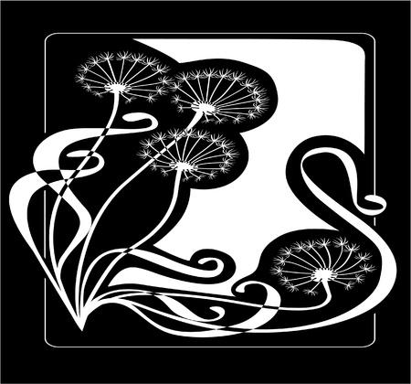 Vintage dandelions Vector