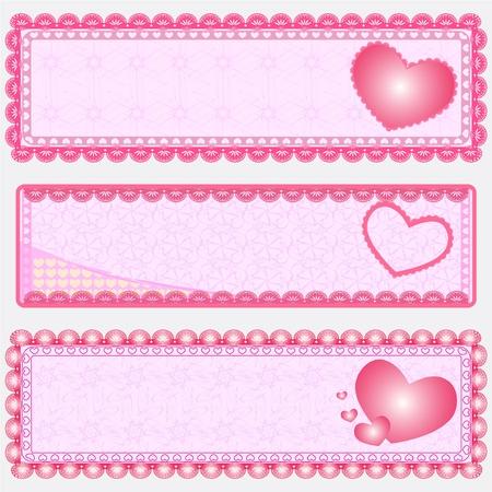 Three  Valentine Banner Illustration