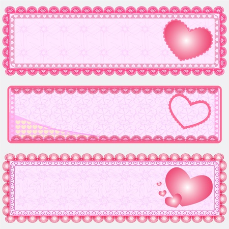 Three  Valentine Banner Vector