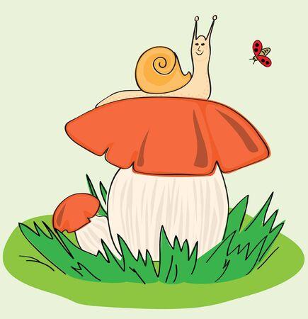 Snail, Mushroom, Ladybird Vector