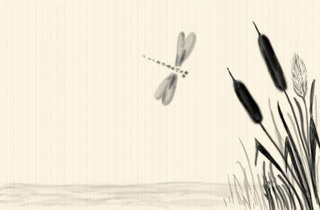 reeds: Background Sumi-e styled
