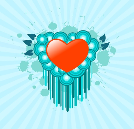 Heart on a grunge background Vector