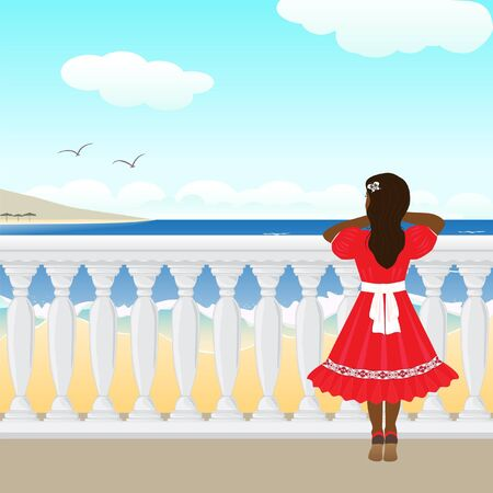 Het meisje staande op een balustrade Stock Illustratie