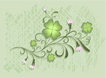four leafed clover: Dise�o para el D�a de San Patricio con tr�boles