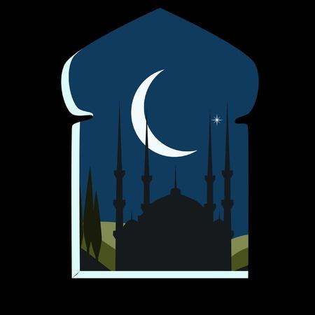 mosque illustration: Orinent landscape