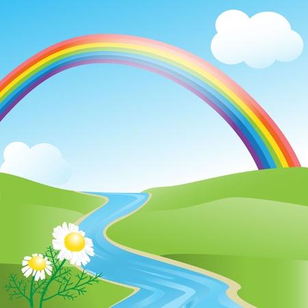 rainbow sky: Summer landscape