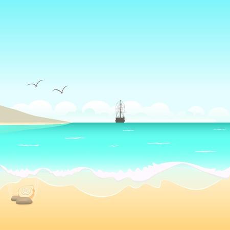 La costa salvaje y la ilustración barco